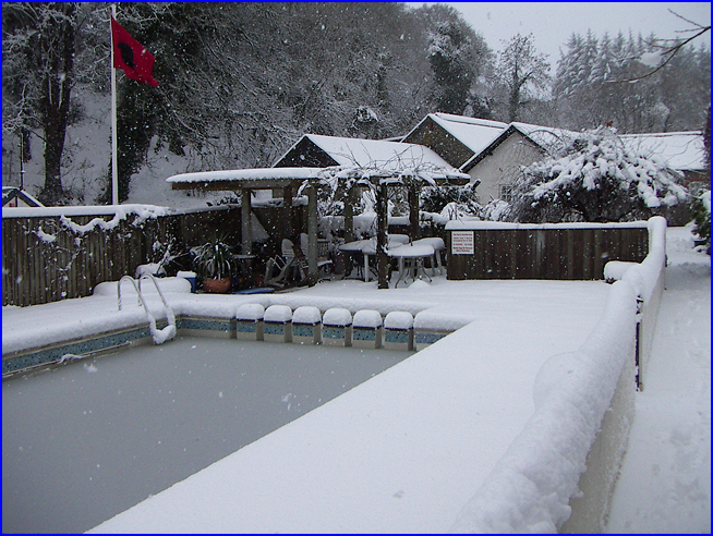the pool in snow
